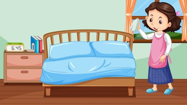 Glückliches mädchen, das schlafzimmer putzt