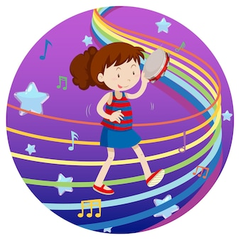 Glückliches mädchen, das tamburin mit regenbogenmelodie auf blauem und violettem steigungshintergrund spielt