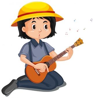 Glückliches mädchen, das ukulele auf weiß spielt