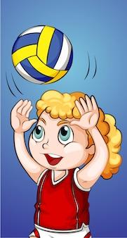 Glückliches mädchen, das volleyball spielt