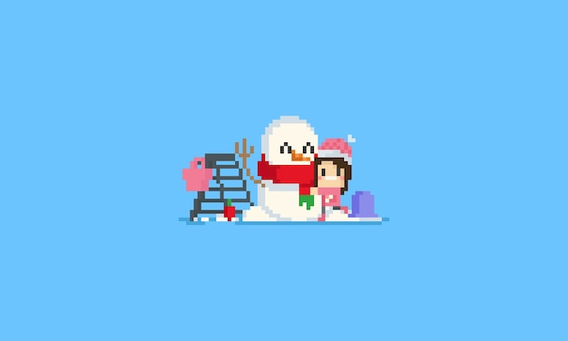 Glückliches mädchen der pixel, das ihren schneemann umarmt