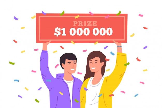 Glückliches mädchen gewinnen lotterie. riesiger geldpreis in der lotterie. glücklicher gewinner, der bankscheck für millionen dollar hält. illustration