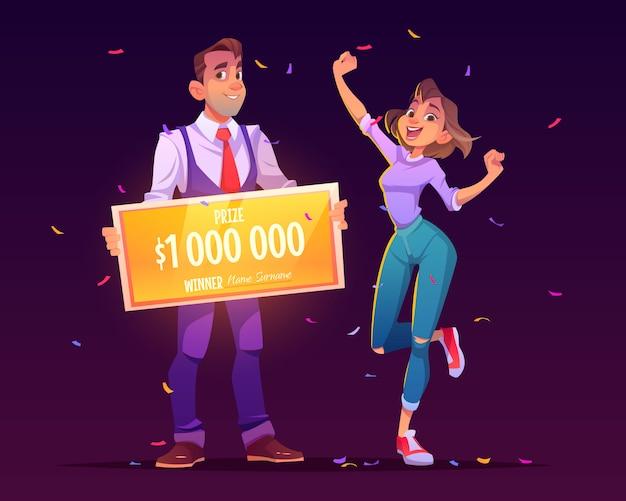 Glückliches mädchen gewinnt lotterie-jackpot für millionen dollar