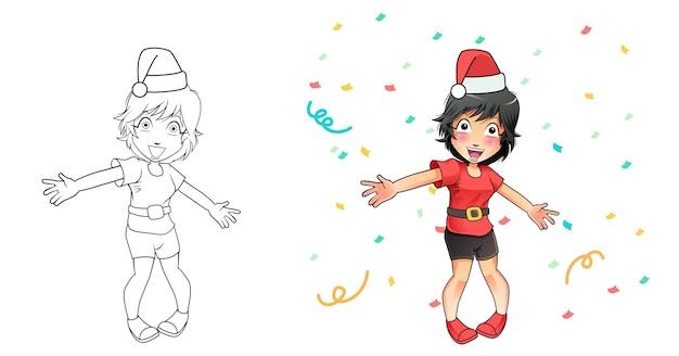 Glückliches mädchen in der weihnachtsmannhut-karikatur-malvorlagen für kinder