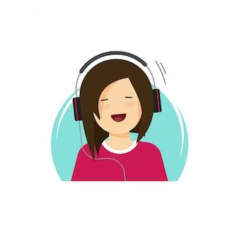 Glückliches mädchen in hörender musik der kopfhörer und in lächelnder vektorillustration in der flachen karikatur