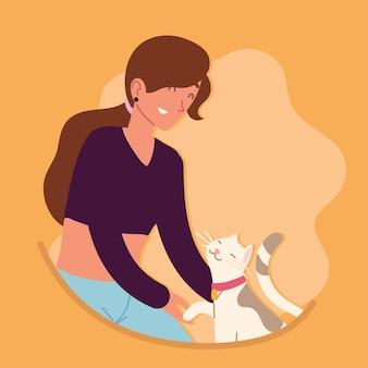 Glückliches mädchen mit einer katze
