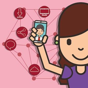 Glückliches mädchen mit smartphone in der hand junge gespräch social media