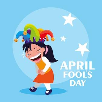 Glückliches mädchen mit spassvogelhut-aprilscherztageskarte