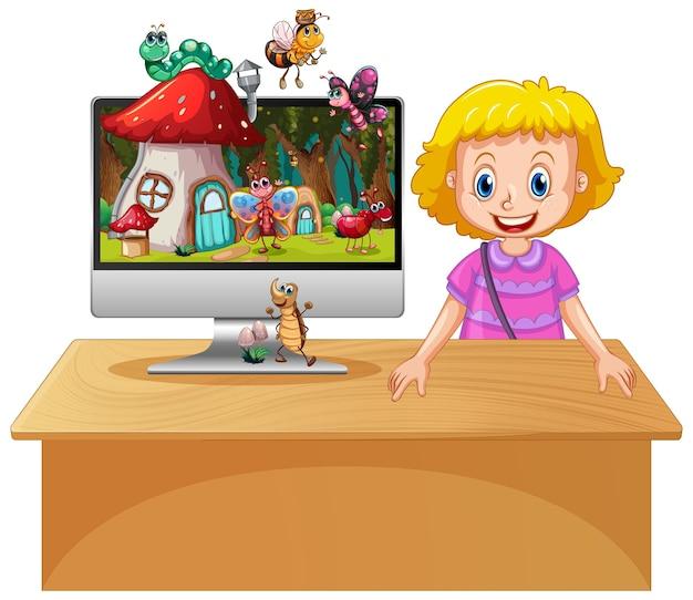 Glückliches mädchen neben computer mit insekt im magischen land-desktop-hintergrund