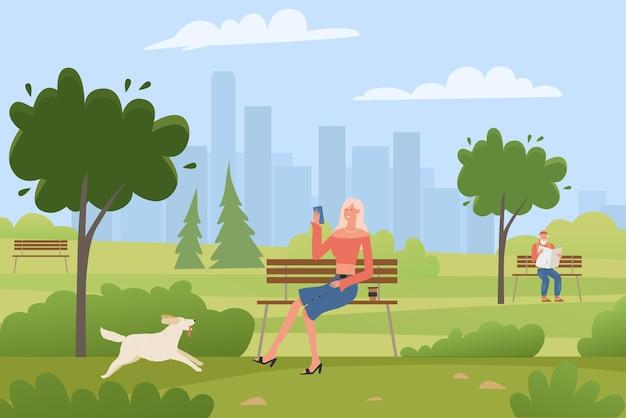 Glückliches mädchen sitzt auf bank im freien illustration