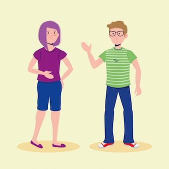 Glückliches mädchen und junge, die mit freizeitkleidung sprechen