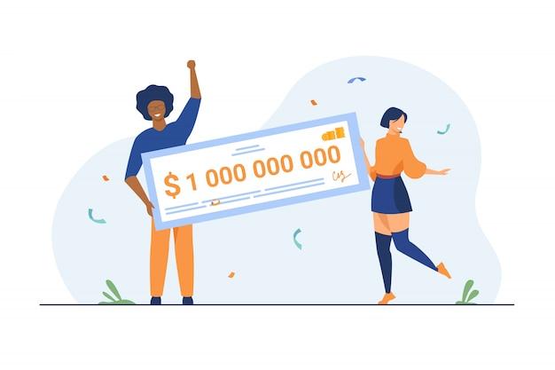 Glückliches mädchen und kerl gewinnen milliarden von bargeld