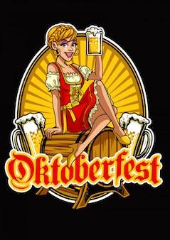 Glückliches mädchen vom oktoberfest das bier präsentierend