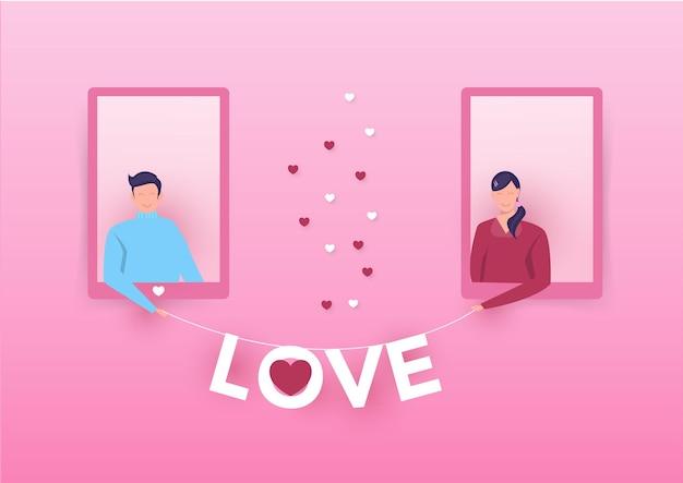 Glückliches mädchen zeigen liebeswort von der tür zum jungen lieben valentinstag.