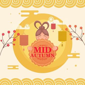 Glückliches mittherbstfestkonzept mit chinesischem mädchen, das mondkuchen, blumenzweige und hängende laternen auf gelbem hintergrund hält.