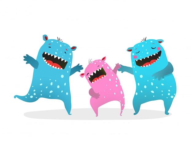 Glückliches monster-familien-lachen-spielen. nette familie der kinder-monster, die lachende sohnmutter und -vater spielen.