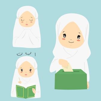 Glückliches moslemisches mädchen, das quran liest, sadaqah oder nächstenliebe betet und gibt