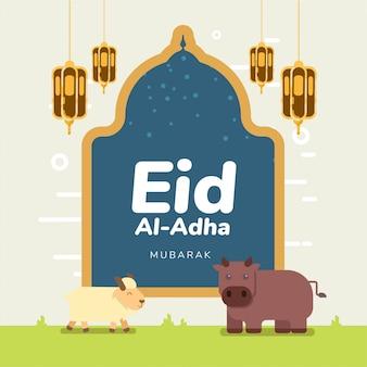 Glückliches muslimisches feiertagskonzept eid al-adha mubarak mit gelber lampe und niedlichen braunen kuh- und weißen ziegenschafen, die zusammen flaches volles quadrat stehen