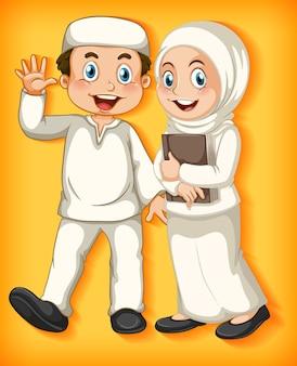 Glückliches muslimisches paar auf farbverlauf