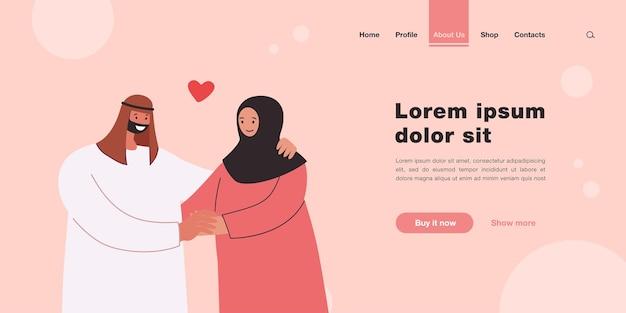 Glückliches muslimisches paar, das händchen hält