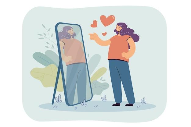 Glückliches narzisstisches mädchen, das sich im spiegel betrachtet und ihr schönes spiegelbild bewundert. karikaturillustration