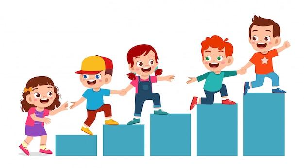 Glückliches nettes kinderjungen- und -mädchentaemwork-team