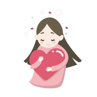 Glückliches nettes mädchen, das herz mit liebesgefühl umarmt