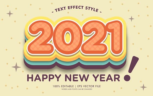 Glückliches neues jahr 2021 cute text effects style
