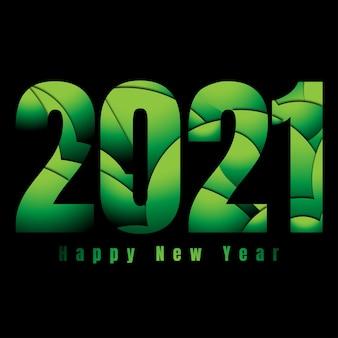 Glückliches neues jahr 2021 mit abstrakter grüner vibe