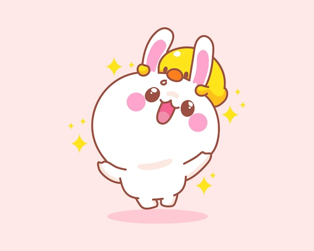 Glückliches niedliches kaninchen mit entenspringen, das spaßkarikaturillustration hat