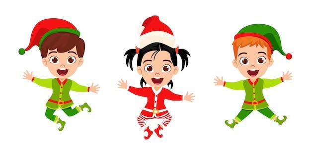 Glückliches niedliches kind jungen und mädchen springen und winken und feiern fröhliche charismas isoliert auf weißem hintergrund