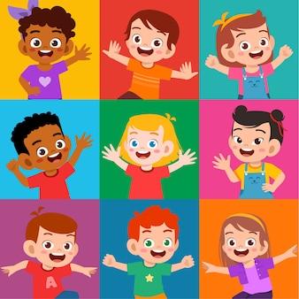 Glückliches niedliches kinderlächeln ausdrucksset