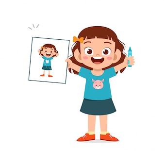 Glückliches niedliches kleines kind jungen und mädchen zeichnen mit wachsmalstift auf papier