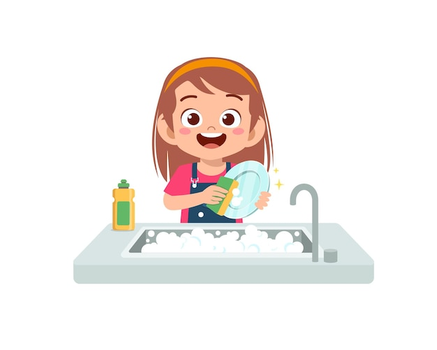 Glückliches niedliches kleines mädchen, das geschirr in der küchenillustration lokalisiert wäscht