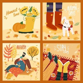 Glückliches niedliches paar auf herbsthintergrund mit blättern und bäumen, gummistiefeln und kürbis, niedlicher hund in blättern, paar auf plaid mit glühwein. illustration ist für ihre karte, poster, flyer.