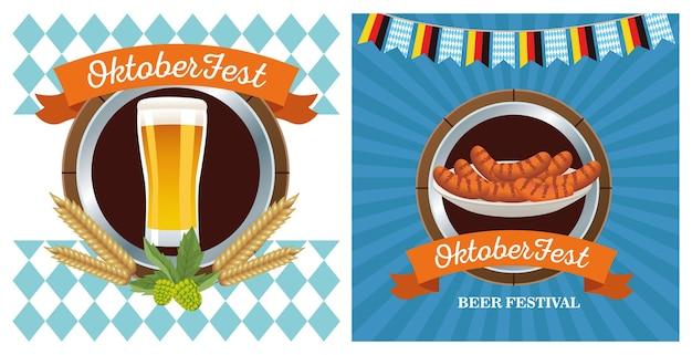 Glückliches oktoberfestfest mit bier- und wurstrahmenvektorillustrationsentwurf