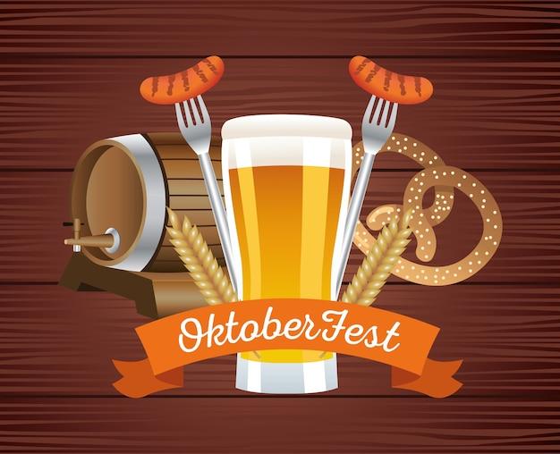 Glückliches oktoberfestfest mit bieren und essen im hölzernen hintergrundvektorillustrationsdesign