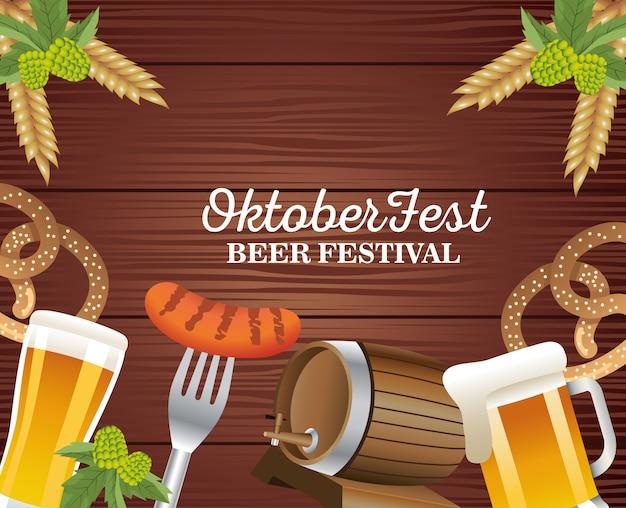 Glückliches oktoberfestfest mit bieren und essen in der hölzernen hintergrundvektorillustration