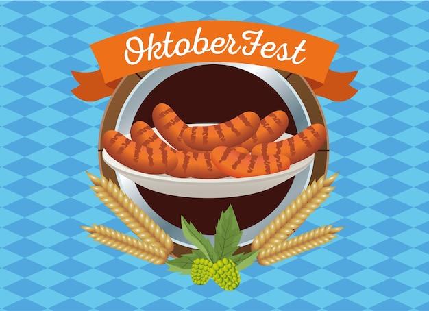Glückliches oktoberfestfest mit würstchen im holzrahmenvektorillustrationsdesign