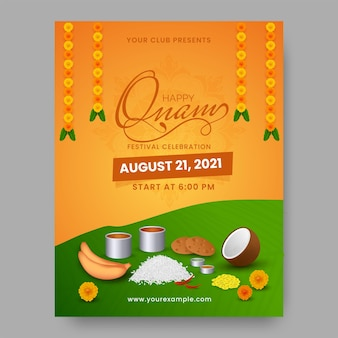 Glückliches onam-festival-flyer-design mit köstlichem sadhya-essen auf orange und grünem hintergrund.