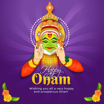 Glückliches onam-festivalmitteilungskarten- oder -plakatdesign mit illustration des kathakali-tänzers auf purpur strahlt hintergrund aus.