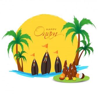 Glückliches onam-konzept mit thrikkakara appan idol, aranmula-bootsrennen und palmen auf kreativem sonnenaufgang oder sonnenuntergang-fluss-hintergrund.