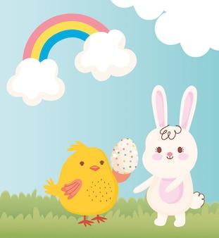 Glückliches osterhähnchen mit gepunktetem ei und kaninchengrasregenbogendekorationsillustration
