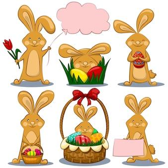 Glückliches osterhasen-set. vektorkarikaturkaninchencharakter mit farbigen eiern, korb und blumen für den feiertag lokalisiert.