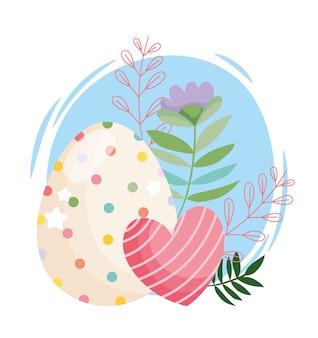 Glückliches ostern-schönheitsei mit punkten und gestreifter herzblumendekorationsillustration