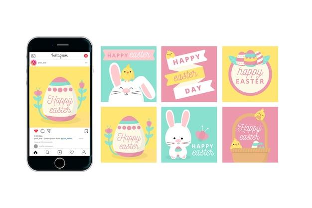Glückliches ostern-tagesinstagram mit smartphone