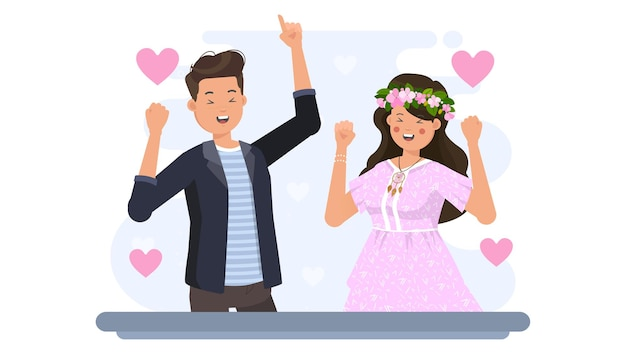 Glückliches paar auf valentine illustration