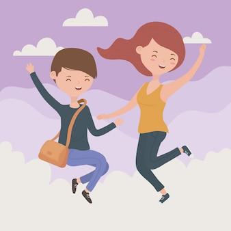 Glückliches paar, das das springen in himmelszene feiert