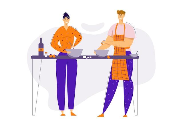 Glückliches paar, das essen zusammen in der küche zubereitet. mann und frau charaktere, die zu hause kochen. familienbeziehungen.