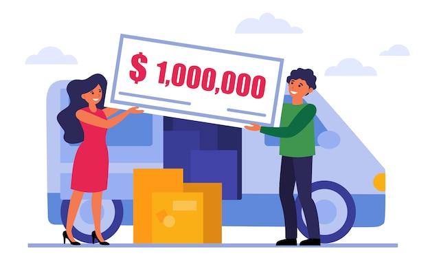 Glückliches paar, das geldpreis gewinnt
